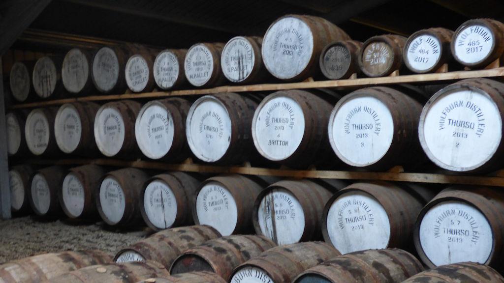 Whisky distillery barrels