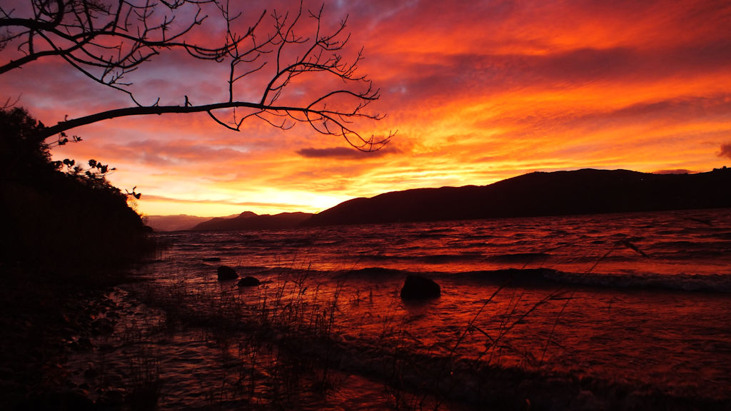 Sunset over Loch Ness, Pottery House B&B