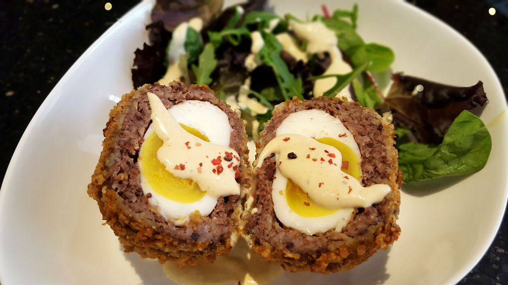 Scotch egg from free range hens with mustard sauce