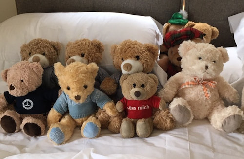 Teddies on holiday at Brae House, Perthshire