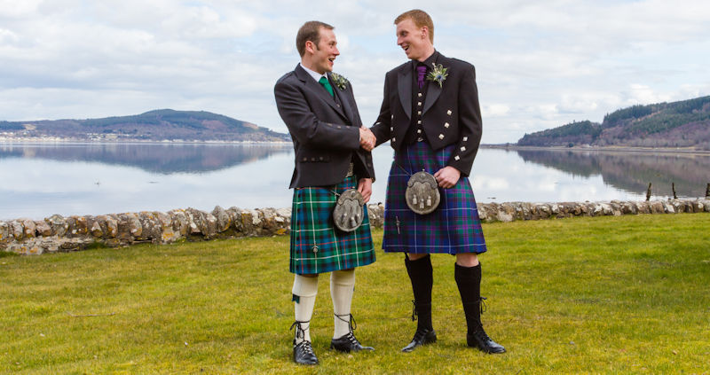 Men in kilts at Scottish wedding