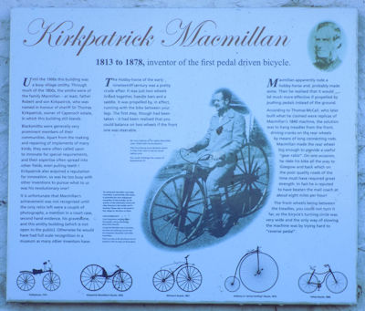 Information plaque about the first bicycle