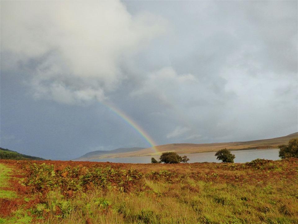 Autumn rainbow in the Scottish Highlands